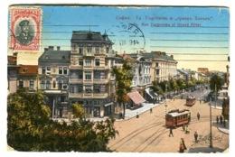 Sofia Rue Targovska And Grand Hotel  With Tram Colour Litho Sent 1914 To Denmark - Bulgaria