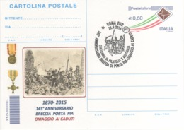 Italia 2015 Roma 145° Anniversario Breccia Di Porta Pia Roma Annullo Cartolina - Storia