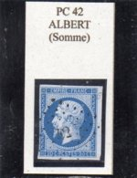 Somme - N° 14A Obl PC 42 Albert - 1853-1860 Napoléon III