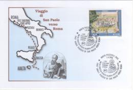 Italia 2006 1945° Anniversario Viaggio Di San Paolo Verso Roma Tappa A Pozzuoli (NA) Annullo Busta - Christianisme