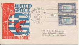 USA FDC Washington 12-10-1943 Overrun Countries Greece Freedom Shall Come With Nice Cachet - 1941-1950
