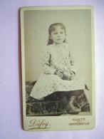 PHOTO CDV 19 Eme JEUNE FILLE ET SON JOUET BALLON   MODE  Cabinet DUFEY A NANCY CONTREXEVILLE - Anciennes (Av. 1900)
