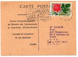 France N° 1356 Y. Et T. Indre Et Loire Tours Gare Flamme Illustrée Du 14/01/1963 - Marcofilie (Brieven)