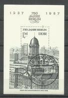 """DDR Bl.84 """"750 Jahre Berlin Mit Abb. Des Hauses Der Ministerien Der DDR"""" Gestempelt  Mi.-Preis 2,50 - DDR"""