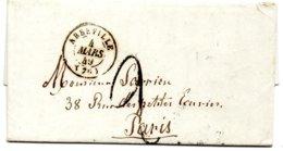 Somme - LAC Du 04/03/1849 (Vte De Tramécourt) Taxe 2 Tampon Càd Type 15 Abbeville - Marcophilie (Lettres)