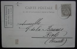 1902 Larodde Puy De Dôme Envoi De J. Dubourg, Carte Avec 1 Centime Seul Pour Riols (Hérault) - Postmark Collection (Covers)