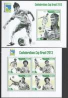 ML631 2013 MALDIVES SPORT FOOTBALL CONFEDERATIONS CUP BRASIL 2013 KB+BL MNH - Calcio