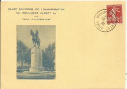 1937 - N° 360 Oblitéré (o) Sur Carte MONUMENT ALBERT Ier PARIS - France