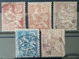 FRANCE 1902 - Canceled - YT 124, 125, 126, 127, 128 - 10c 15c 20c 25c 30c - France