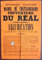 Châteaurenard . Adjudication Pour La Couverture Du Réal . 1879 . Maire Frédéric Mascle . Timbre Fiscal . - Affiches