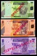 CONGO DEMOCRATIC REPUBLIC SET 3 BANKNOTES SPECIMEN 1000, 5000 FRANCS 2005 10000 FRANCS 2006 Pick 101s, 102s, 103s Unc - Congo
