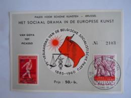 België Belgium 28.5.1960 Expo Brussel Inkom Carte D'entrée Het Sociale Drama In De Europese Kunsten Cob 1131 + PR136 - Bélgica