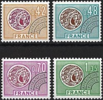 France 1975 - Mi 1905/08 - YT Po 134/37 ( Precancelled : Gallic Coins ) MNH** Complete Set - 1964-1988