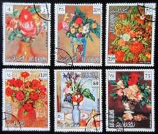 RAS AL KHAIMA .6 Timbres Tableaux De Fleurs RENOIR / NIGG / CEZANNE / MAYER / MANET / REDON - Impressionisme