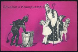 Télapó, Krampusz Régi Képeslap  /  Santa, Krampus  Vintage Pic. P.card - Ungarn