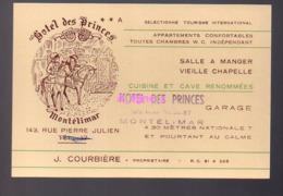 REF 407 : Carte De Visite Hotel Des Princes Montelimar Courbiere - Cartes De Visite