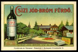 CSÍZFÜRDŐ Csizi Jód-bróm Fürdő, Reklámkártya, Képeslap Méret / CSÍZ Iodine-bromide Bath, Adv. Card, Vintage Pic. P.card - Vieux Papiers