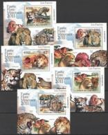 Comoros, 2011. [cm11L07] Fauna, Predators (Deluxe-blocks) - Raubkatzen