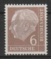 MiNr. 180 Xw Deutschland Bundesrepublik Deutschland 1954, 31. Jan. Freimarken: Bundespräsident Theodor Heuss - BRD