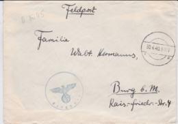 German Feldpost WW2: From Dessau -  12. Scheinwerfer-Batterie Flak-Regiment 43 FP L27788 LGPA Dresden - Militaria