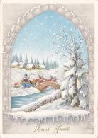 Bonne Année (Voeux) - Traineau - Maison - Neige - Nouvel An