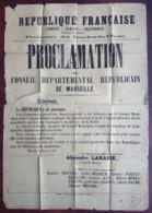 Guerre De 1870-71 . Rare Affiche Du Conseil Départemental Républicain De Marseille . 5 Septembre 1870 . Labbé . Commune - Afiches