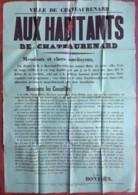 Châteaurenard . Programme (très Creux) Du Maire Bontoux , Nommé Par Décret Par Le Président Mac Mahon . 14 Mars 1874 . - Afiches