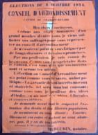Châteaurenard . Elections Cantonales Du 4 Octobre 1874 . Candidature De Mercurin , Notaire De Graveson . Timbre Fiscal . - Afiches