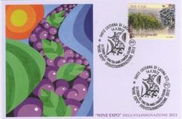 Italia 2012 Cisterna Di Latina Vite E Vino Wine Expo Annullo Cartolina - Vini E Alcolici