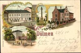 Lithographie Dülmen Im Münsterland, Hotel Sternemann, Denkmal, Amtsgericht, Schloss - Allemagne