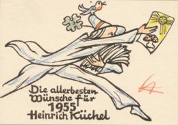 Wenskaart 1955 Heinrich Küchel - Heinrich Küchel (gesigneerd En Handgekleurd) - Sin Clasificación