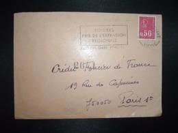 LETTRE TP M. DE BEQUET 0,50 ROULETTE DISTRIBUTEUR OBL.MEC.27-10 1972 86 POITIERS GARE VIENNE - 1971-76 Marianne (Béquet)