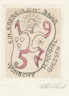 Wenskaart 1957 Heinrich Küchel - Heinrich Küchel (gesigneerd Handgekleurde Ets) - Sin Clasificación