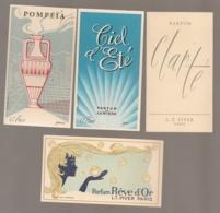 4 CARTES PARFUMEES PIVER PARIS / REVE D'OR / CLARTE / POMPEIA / CIEL D'ETE   B810 - Vintage (until 1960)