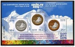 Russia, 2014, Mi. 2014-16 (bl. 198 I), Sc. 7509d, The XXII Olympic Winter Games Sochi, Overprint, MNH - 1992-.... Federazione