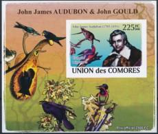 NB - [38419]TB//ND/Imperf-Comores 2009 - BL1319, Personnalités, Ornithologues, Jean-Jacques Audubon, Corvus Corax. - Beroemde Personen