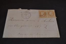 Lettre 1865 St Leger Sur Dheune Pour Autun Variété De Piquage Sur Napoléon 10 Centimes - 1849-1876: Periodo Clásico