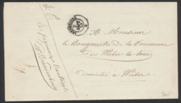 """""""Précurseur"""" - LAC Non Affranchie Datée De Luxembourg 20/09/1858 Vers Le Bourgmestre De Weiller-la-Tour - Luxembourg"""