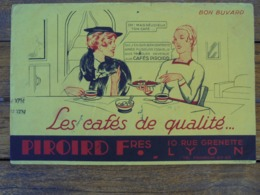 BUVARD - CAFES PIROIRD  - LYON - BUVARD AYANT SERVI, VOIR SCAN - Blotters