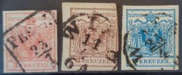 AUSTRIA 1854 - Canceled - ANK 3II, 4II, 5II - 3k 6k 9k - Usados