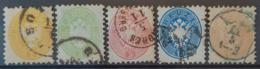 AUSTRIA 1863/64 - Canceled - ANK 30, 31, 32, 33, 34 - 2k 3k 5k 10k 15k - Usados