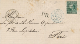 Nederland - 1872 - 20 Cent Willem III, 3e Emissie Op Omslag PD Van Amsterdam Naar Paris / France - 1852-1890 (Wilhelm III.)