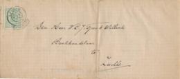 Nederland - 1875 - 1 Cent Wapen Op Complete Vouwbrief Met Franco Takjestempel LEIDEN Naar Zwolle - 1852-1890 (Wilhelm III.)