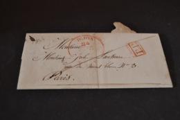Lettre 1842 Cachet Rouge Dijon Pour Paris - Marcophilie (Lettres)