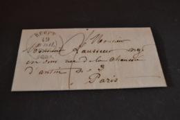 Lettre 1843 Bercy Pour Paris Cachet De Levée Rouge Sixième - 1801-1848: Précurseurs XIX
