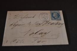 Lettre 1868 Dieuze Pour Nolay Avec 2 Ambulant - Marcophilie (Lettres)