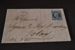 Lettre 1868 Dieuze Pour Nolay Avec 2 Ambulant Paris Strasbourg - Marcophilie (Lettres)