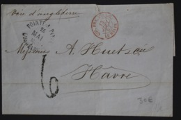 Guadeloupe Cover Pointe A Pitre -> Le Havre 1862  COL. FRA. V. ANGL. - Lettres & Documents
