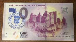 11 CARCASSONNE CHÂTEAU COMTAL BILLET 0 EURO SOUVENIR AVEC TAMPON 2019 BANKNOTE BANK NOTE 0 ZERO EURO SCHEIN MONEY - EURO