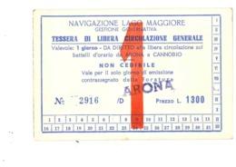 ARONA CANNOBIO BIGLIETTO NAVIGAZIONE LAGO MAGGIORE - Novara